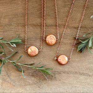 Rose Gold Pink Baroque Pearl Necklace